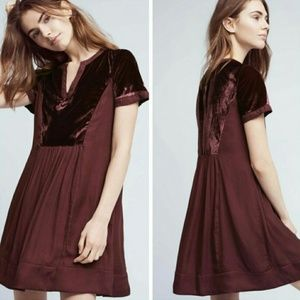 Anthropologie MAEVE Maroon Velvet Dress